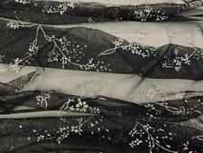 "57"" Wide Black Silver Metallic Sequined Floral Sheer Mesh Tulle Lace Fabric"