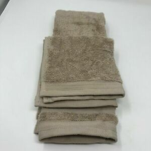 Baltic Linen Company Set of One Hand Towel and One Wash Cloth Beige 100% Cotton