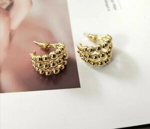 Thick Chunky Vintage Small Layered Bobble Hoop Earrings