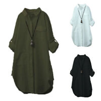 Womens Long Sleeve Summer Casual Mini Shirt Dress Ladies Loose Tunic Tops Blouse