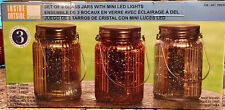 Inside Outside Garden Christmas Mantle 3 Mercury Glass Jars w/Mini LED Lights