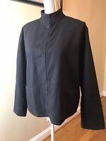 Eileen Fisher Women's black ribbed jacket zipper front pocket sz small