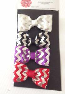 Girls set of 4 Silver Foil grosgrain ribbon hair clips
