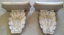 Pair Wall Shelf Sconce Scallop Beige Decorative Hanging Shelf Corbel Home Decor