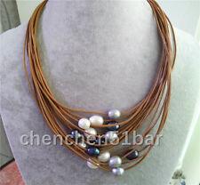 15 Reihe 10-12mm weiß grau schwarz Süßwasserperle braun Leder Halskette
