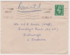 (K110-15) 1948 GB 1/2d letter to Barclay's bank South Rhodesia used (O)