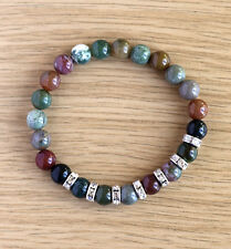 Bracelet with natural 8 mm  Indian Agate gemstones
