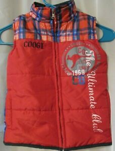 Coogi Kids  Puffer Vest Zip Red/Plaid Kangaroo 3T