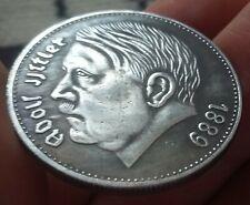 German Coin Reichs Kanzler 1938 Reichsmark Silvered Bronze Exonumia Medal Token