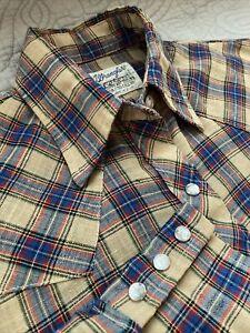 Vintage Wrangler Pearl Snap Women's Shirt Plaid Snaps B1