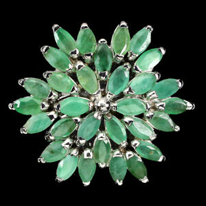 Unheated Marquise Emerald 5x2.5mm White Gold Plate 925 Sterling Silver Ring 7.5