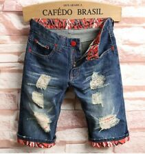 W42 Fashion Patchwork Ripped Mens Denim  Jeans Shorts
