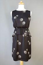 Hobbs dress tea peplum dandelion print black white UK 8