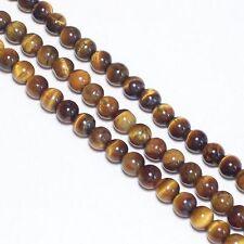 3 Fil  Oeil de Tigre 6mm Ronde  Perles