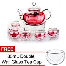 600 мл жаропрочное стекло чайник + теплый чайник + 6 чашки с двойными стенками чайник