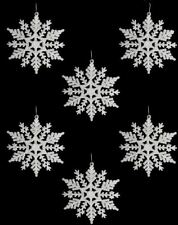 6 White Glitter Hanging Snowflake Christmas Decoration Frozen Tree Ornament Wall