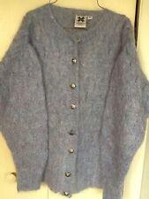 Icelandic Design Handknit Mohair Wool Cardigan Sweater Sz M Cutter Mendable
