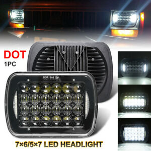 "5x7"" 7x6"" LED Headlight H4 Hi-Lo Beam Halo For Jeep Cherokee XJ Chevrolet Truck"