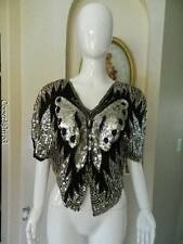 Vtg indie silk butterfly trophy glitzy glam top