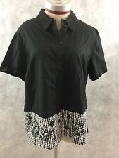 MS LEE blouse shirt L large black white butterfly career short sleeve NEW top