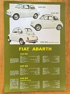 GLOSSY FIAT ABARTH POSTER 49x34cm FEATURING ABARTH 595 SS 695 SS  ASSETTO CORSA