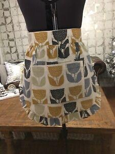 Handmade fully Reversible Cotton / Linen retro vintage Spot half apron