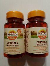 2 x Sundown Naturals VITAMIN A 8000 IU Good Vision 100x2 softgels NON-GMO Vegi