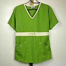 New listing Reina Scrubs Shirt Green Embroidered Large Women's short sleeve Flower Heart