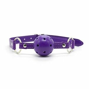 Breathable Faux Leather Mouth Ball Gag Restraints Harness Bondage Oral Sex Slave