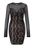 MISS SELFRIDGE PETITE Mesh and Lace Dress rrp £32 - size UK 10