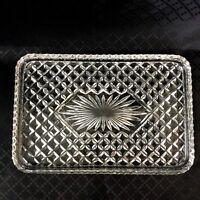 Art Deco Glass Vanity Stand Tray Plate Starburst Sunburst Vintage Glassware