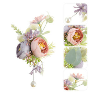 1Pc Artificial Flower Corsage Wedding  Fine Brooch Prop Gift