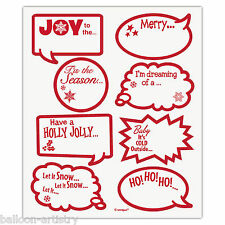 16 Christmas Joy Season's Greetings Drink Marker Glass Clings Stickers