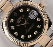 Rolex Datejust 116233 Two Tone 36mm Oyster 18k Fluted Bezel Black Diamond Dial