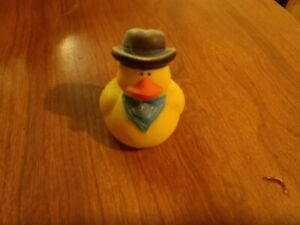 """Rubber Ducky Toy cowboy hat and kerchief 2"""" tall"""