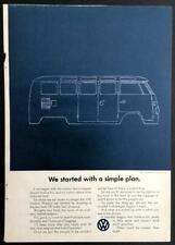 1965 VW Van Microbus VOLKSWAGEN vintage Blueprint AD Bus Station Wagon