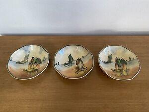 "3 Royal Doulton Octoganal Bowls ""Brittany Fisherfolk"" D4405 - 1920's/30's - 13cm"