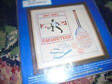 NEW NOS Craft kit Needles and Hoops Sports Tennis Sampler older kit SEALED
