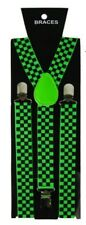 Unisex Fancy Dress Novelty Fashion Braces Neon Green & Black Check Pattern New