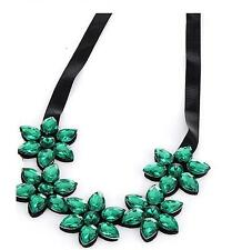 Ladies Jade Green Chunky Flower Necklace