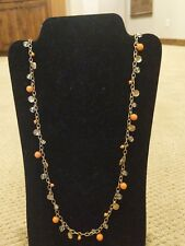"Premier Designs Jewelry TANGERINE retired 38"" with 4"" extender necklace RV $52"
