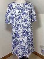 ANTHOLOGY Size 16 Tunic Dress Blue & White Floral ruffled frill Sleeves