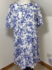 ANTHOLOGY Size 16 Tunic Dress Blue & White Floral ruffled frill Sleeves