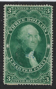 UNITED STATES REVENUE STAMP:1863 $3 Charter Party  perf #R85c  feint cancel