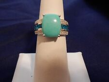 5.51ct Size 7 Sleeping Beauty Turquoise, Neon Apatite, White Topaz Silver Ring