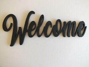 Black Wooden Welcome Wall Sign  30 cm