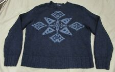 NICE Polo Ralph Lauren Hand Knit Sweater Aztec Navajo Tribal Blue size Large