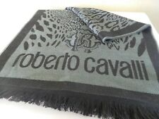 New Roberto Cavalli Logo Animal Print Wool Blend Knit Scarf Grey / Black - $285.