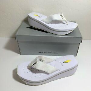 Volatile Sashimi Sandals Platform Wedge Flip Flops White Size 7 NEW