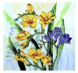 "YH ARTS Freesias 8x8"" Ceramic Wall Art Coaster Trivet Plaque Tile Picture Gift"
